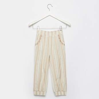 Full Length Textured Harem Pants with Pocket Detail