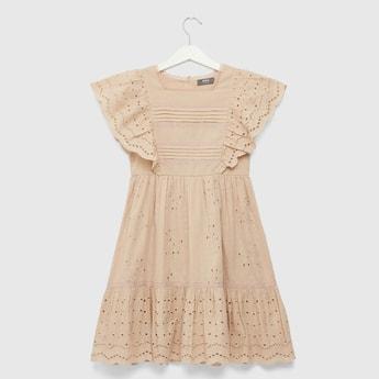 Schiffli Detail Dress with Cap Sleeves