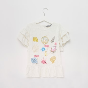 Shell Applique T-shirt with Round Neck and Short Sleeves