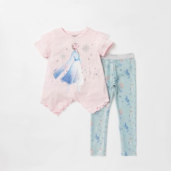 Frozen Embellished Round Neck T-shirt and Full Length Leggings Set