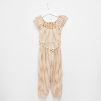 Striped Jumpsuit with Cap Sleeves and Embroidered Detail