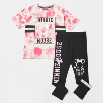 Minnie Mouse Applique Detail T-shirt with Graphic Print Leggings