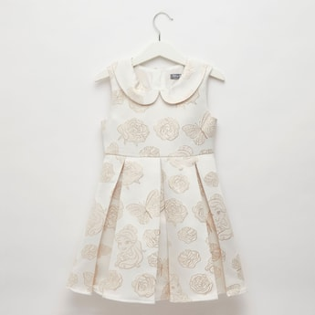 Embroidered Sleeveless Jacquard Dress with Peter Pan Collar