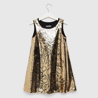 Disney Princess Sequin Detail A-Line Sleeveless Dress with Round Neck
