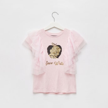 Snow White Embellished Round Neck T-shirt with Ruffles