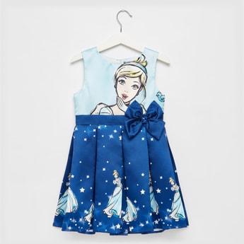 Cinderella Print Sleeveless Dress with Bow Detail