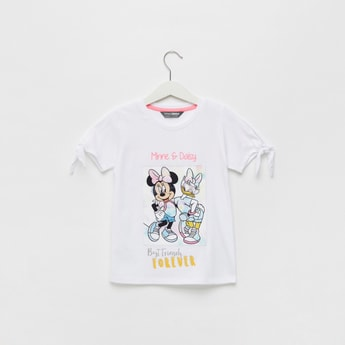 Minnie and Daisy Print Lenticular T-shirt with Sleeve Tie-Ups