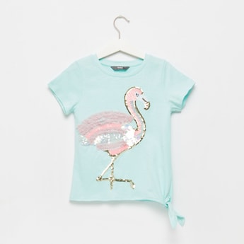 Flamingo Sequin Detail T-shirt with Round Neck and Cap Sleeves