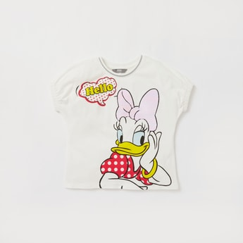Daisy Duck Print Round Neck T-shirt with Cap Sleeves