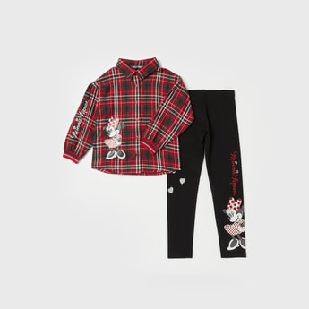 Minnie Mouse Print Long Sleeves Shirt and Legging Set
