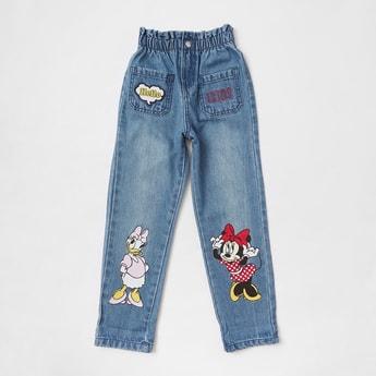 Minnie & Daisy Print Full Length Jeans with Elasticated Waistband