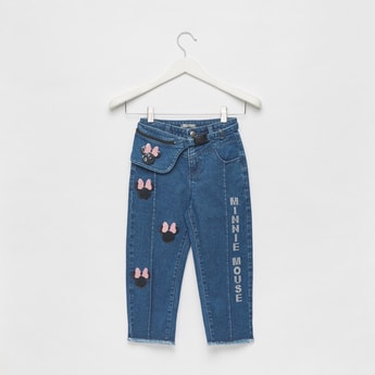 Minnie Mouse Embellished Jeans with Button Closure