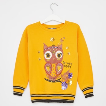 Embellished Owl Print Sweat Top