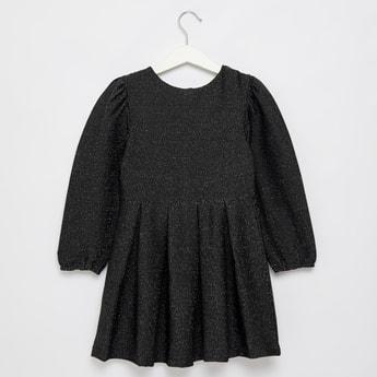 فستان محبوك جاكارد بياقة مستديرة وأكمام طويلة من لوركس
