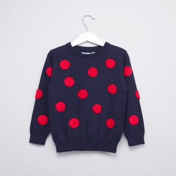Applique Detail Sweater with Round Neck and Long Sleeves