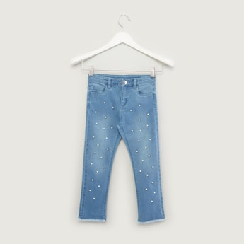 Pearl Detail Full Length Jeans with Pocket Detail and Belt Loops