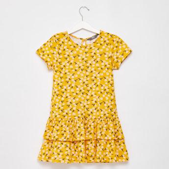 فستان بطول الركبة بطبعات أزهار وياقة مستديرة وأكمام كاب