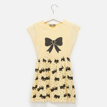 Bow Print Dress with Round Neck and Sequin Detail