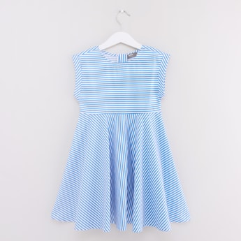Striped Sleeveless Dress with Round Neck and Zip Closure