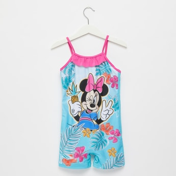 Minnie Mouse Print Sleeveless Swimsuit with Ruffle Detail