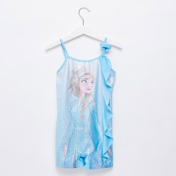 Frozen Elsa Embellished Swimuit with Knot Detail and Adjustable Straps