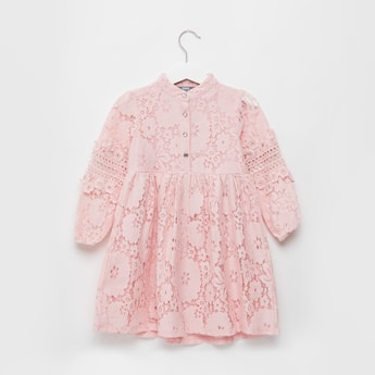 Lace Dress with Button Detail and Long Sleeves