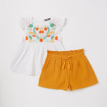 Embroidered Top and Textured Shorts Set