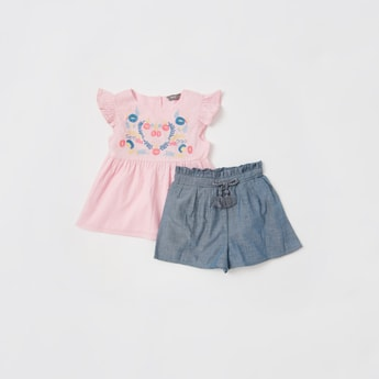 Floral Embroidered Top with Solid Shorts