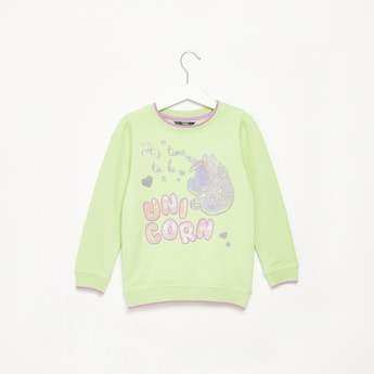 Unicorn Embroidered Sequin Detail Sweat Top with Long Sleeves