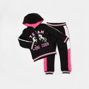 Unicorn Embellished Detail Jacket with Full Length Jog Pants