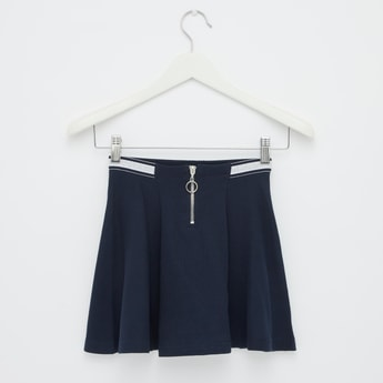 Solid Skater Skirt with Elasticised Waistband and Zip Closure