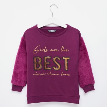 Typographic Embellished Sweat Top with Long Sleeves and Fur Detail