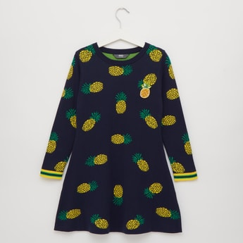 Pineapple Print Knee Length Dress with Round Neck and Long Sleeves