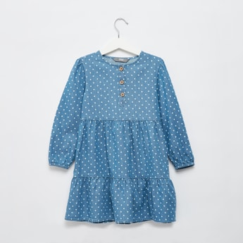 Polka Dots Print Chambray Tiered Dress with Long Sleeves