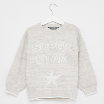 Embroidered Sweater with Long Sleeves and Round Neck