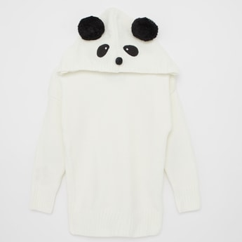 Panda Applique Sweater with Long Sleeves and Hood