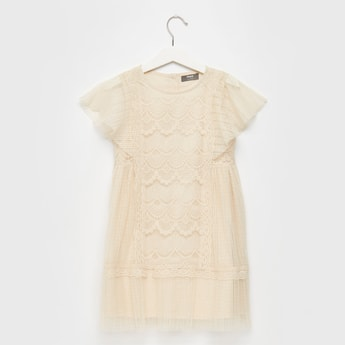 Lace Detail Dress with Extended Sleeves and Tie-Ups
