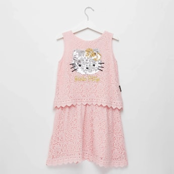 Hello Kitty Sleeveless Lace Dress with Round Neck and Sequin Detail