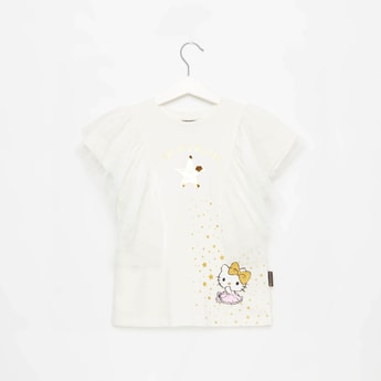 Hello Kitty Print Round Neck Top with Ruffle Detail
