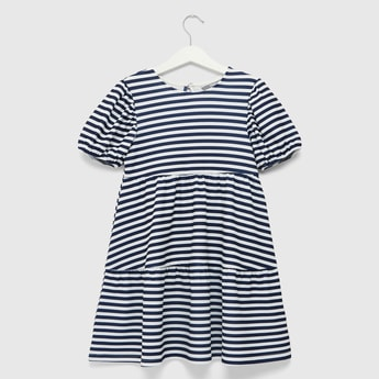 Striped Tiered Dress with Puff Sleeves and Keyhole Closure