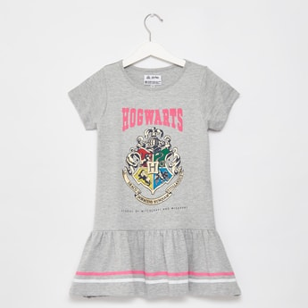 Hogwarts Graphic Print Knee Length Dress with Round Neck