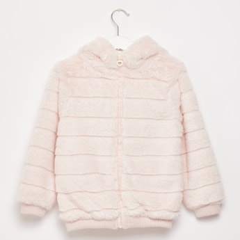 Textured Plush Detail Jacket with Long Sleeves and Hood