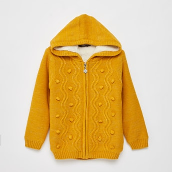 Textured Sweater with Hood and Long Sleeves