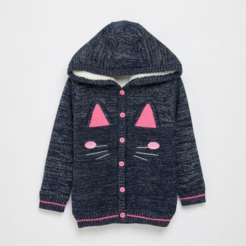 Textured Hooded Sweater with Long Sleeves and Button Closure