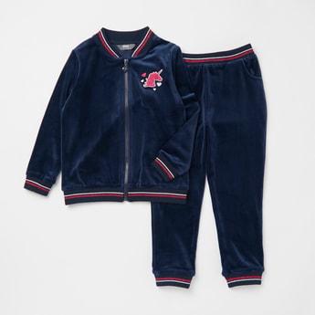 Velour Long Sleeves Jacket with Full Length Jog Pants Set