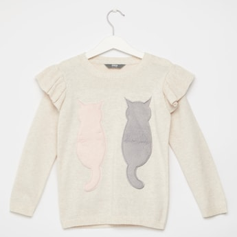 Ruffle Detail Sweater with Long Sleeves and Fluffy Cat Appliques
