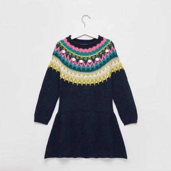 Fairisle Circular Yoke Sweater Dress with Long Sleeves