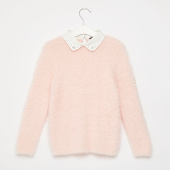 Textured Sweater with Embellished Peter Pan Collar and Long Sleeves