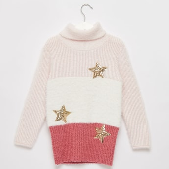Colourblock Sweater with Long Sleeves and Sequin Detail