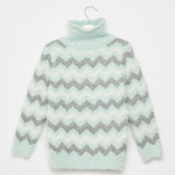 Chevron Print High Neck Sweater with Long Sleeves